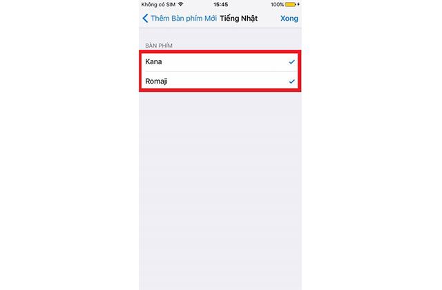 Lựa chọn kiểu bàn phím tiếng Nhật Kana và Romaji trên iphone