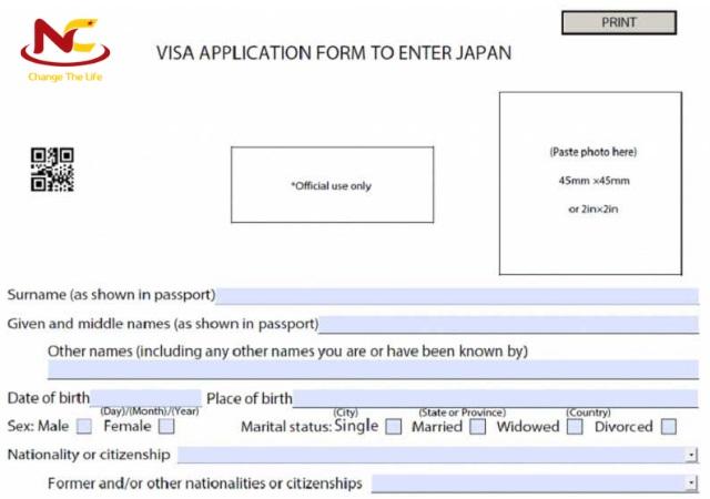 cách điền đơn xin visa Nhật có mã code