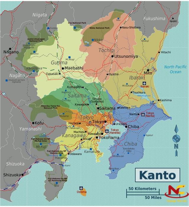 Bản đồ Nhật bản vùng Kanto