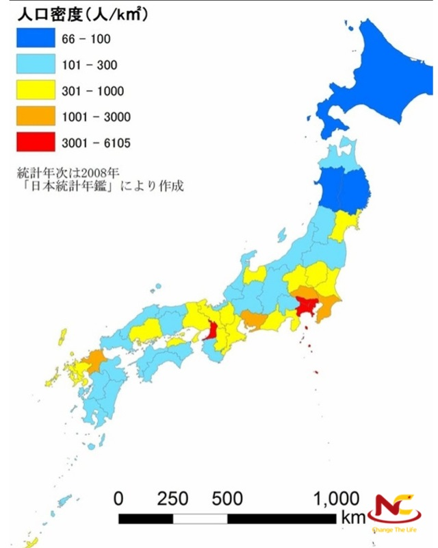 Bản đồ dân số Nhật Bản