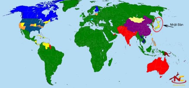 Bản đồ Nhật Bản trên thế giới