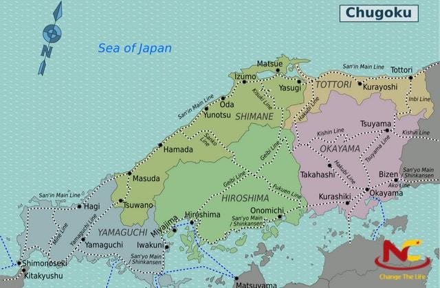 Bản đồ Nhật Bản vùng Chugoku