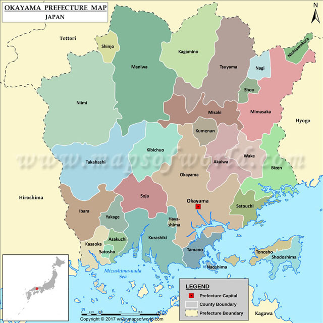Bản đồ tỉnh Okayama Nhật Bản
